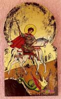 Sárkányölő szent György, körboltíves dúsan aranyozott ikon, szignatúrával, rusztikus dekoráció