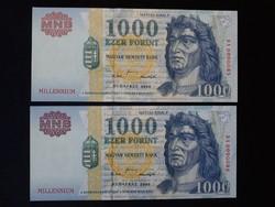 1000 Forint 2000 Millennium UNC GYŰJTŐI RITKASÁG DA sorozat!