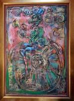 Tóth Ernő - Egykerekű 130 x 90 cm olaj, farost
