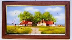 Nyári nap a tanyán KERETEZETT Obermayer festmény