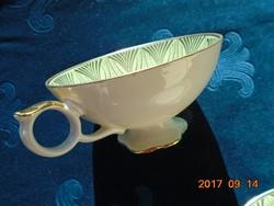 ANTIK-Számozott arany-zöld mintás teás csésze alátéttel