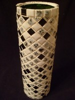 Art deco Op Art,térhatású váza ritkaság 24.5 cm -es mozaik berakás