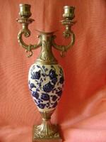 Különleges váza és gyertyatartó egyben porcelán betéttel