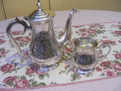 Fantasztikus, neobarokk stílusú, antik, ezüstözött tea szervírozó készlet, teakanna és cukortartó
