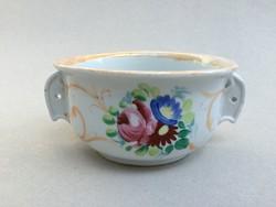 Antik virágos komacsésze népi kétfülű kőporcelán csésze tál