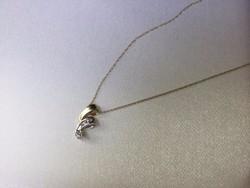 Tömör sárga és fehér arany medál és nyaklánc gyémánt brill kővel