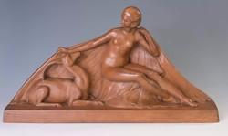 Géo ( George) Maxim art deco terrakotta szobor