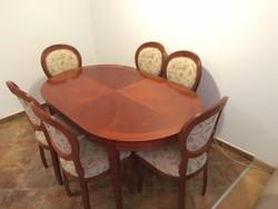Lajos Fülöp bővíthető ovális étkezőasztal 6 db székkel