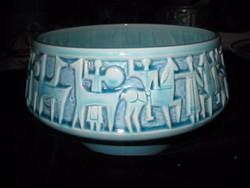 Zsolnay  kék kaspó  20 x 12 cm   a  60as évekből