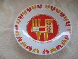 Zsolnay  ,retro  fali   tányér , Nádor Judit  terve alapján