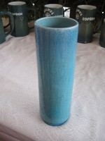 Zsolnay   szivar váza kékben , egy É- Dél irányú hajszál repedéssel  8x25 cm cm