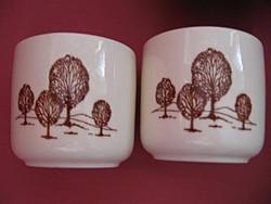 2 db fa tájképes pohár, csésze
