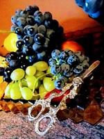 Ezüstözött szőlővágó olló..