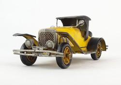 0O118 Sárga veterán autó modell 14.5 cm