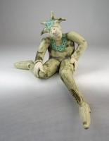0O210 Jelzett kortárs kerámia bohóc szobor 19 cm