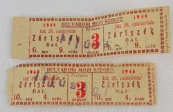 0O171 Belvárosi Mozi Szeged 1946 mozijegy