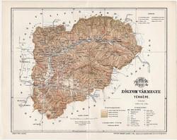 Zólyom vármegye térkép 1897 I., antik, eredeti, lexikon melléklete, Nagy - Magyarország, megye