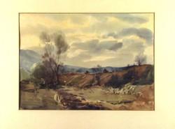 Szalóky Sándor : Őszi táj 1954