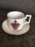 Antik Herendi kávés csésze aljjal - történelmi címerrel, Veszprém