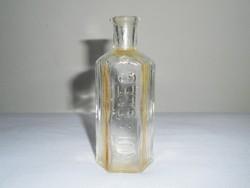 Antik kis üveg palack - gyógyszertári gyógyszeres, hatszögletű, KÜLSŐLEG felirat - 75 ml