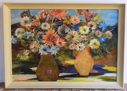 Scholz Erik (1926-1995) Virágcsendélet Képcsarnokos olajfestménye 86x56cm Eredeti garanciával!