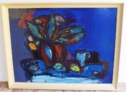 Izsák József (1929-) Virágcsendélet Képcsarnokos olajfestménye 86x66cm Eredeti garanciával!