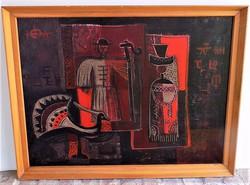 Tóth László (1926-) Tükrösök c .Képcsarnokos olajfestménye 86x66cm Eredeti garanciával!