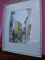 Poll Hugó: Bretagnei utca részlet, pasztel-papír festmény