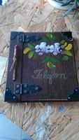 Retró fa asztali telefon notesz..igazán szép kézzel készített darab