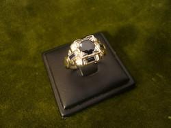 Art deco zafíros-brilles arany gyűrű
