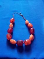 M&S  Gyönyörű  nyaklánc borostyán , narancs szinekkel!