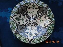 NYÁRI VÁSÁR 50-70% ! Marokkói szignós antik zölddel festett kerámia falitál-hullámos széllel-21,5 cm