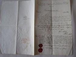 MAGYARÓVÁR MOSONMAGYARÓVÁR 1844 OKIRAT OKMÁNY OKLEVÉL DOKUMENTUM KÉZIRAT VIASZ PECSÉT