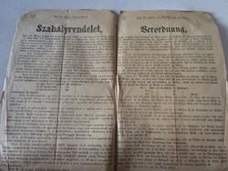 MAGYARÓVÁR MOSONMAGYARÓVÁR RENDELET 1876 KOCSMA VENDÉGLŐ KÁVÉHÁZ SZESZ KIMÉRÉS KIÁLLTVÁNY DOKUMENTUM