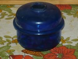Antik kékszinű petróleumlámpa űveg tartálya.