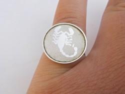 Állítható skorpió horoszkópos ezüst gyűrű 835-ös