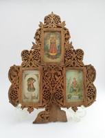 Asztali képkeret szentképekkel - Lombfűrészmunka, 1900k.