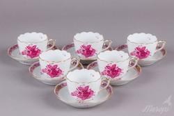 6db Herendi Apponyi purpur mintás kávéscsésze