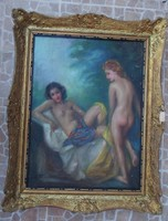 Csodaszép antik jelzett Demjén Mimi akt festmény