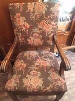 Vintage, gobelines, fa trónszék/fotel