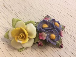 Porcelán, angol, jelzett virágbrossok