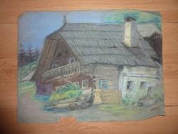 Fürst Zsigmond: Erdei házikó, régi pasztell