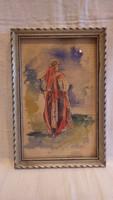 Nő háttal jelzett régi akvarell festmény 1936