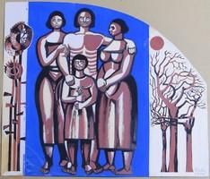 6903 Pintér József Család papír tempera festmény