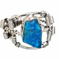 Egyedi kézműves  925 ezüst gyűrű kék apatit kővel