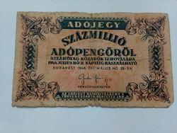 1946-os 100 Millió adópengő F R!