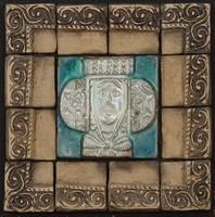 0O206 Kortárs művészeti kerámia mozaikkép 20 cm