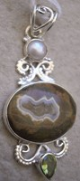 925 ezüst medál rainforest opál, peridot, gyöngy