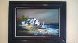 Adilov Alim : Kikötött vitorlás festmény