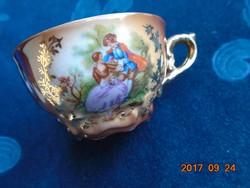 """""""Decor Rembrandt""""-zsánerjelenetes -kávés csésze-dombor liliom mintával"""